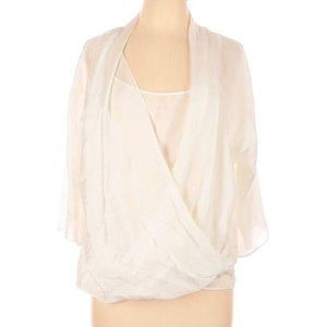 New York & Company Ivory Faux Wrap Sheer Blouse L